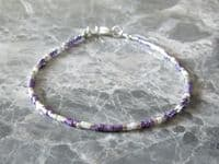Tiny Purple, White & Silver Seed Bead Friendship Anklet   Silver Sensations